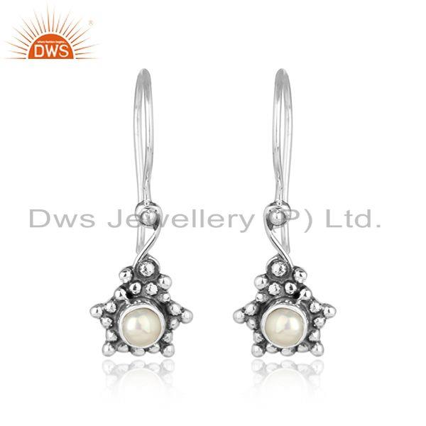 Natural pearl gemstone oxidized silver designer womens earrings