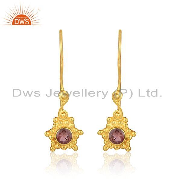 Texture Earring in Yellow Gold on Silver with Pink Tourmaline