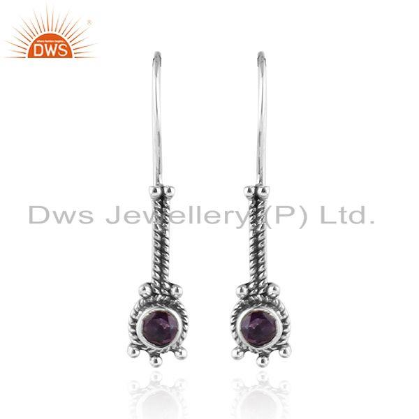 Natural Amethyst Oxidized Silver Antique Design Hook Earrings