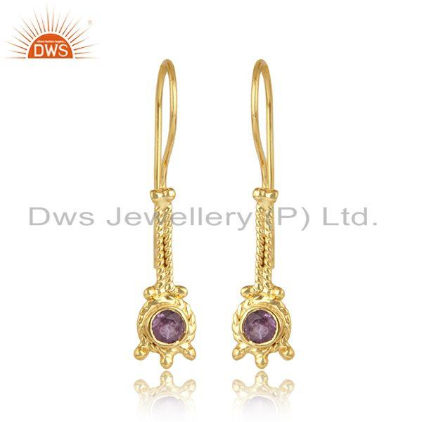 Wandering design gold plated 925 silver amethyst gemstone earrings