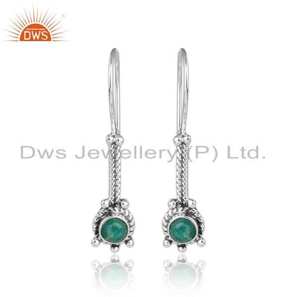Amazonite Gemstone Womens Sterling Silver Oxidized Earrings