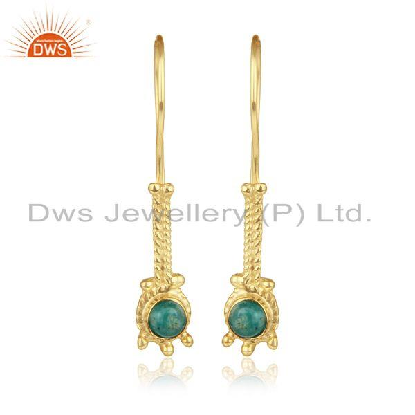 Elongated design earring in yellow gold on silver with amazonite
