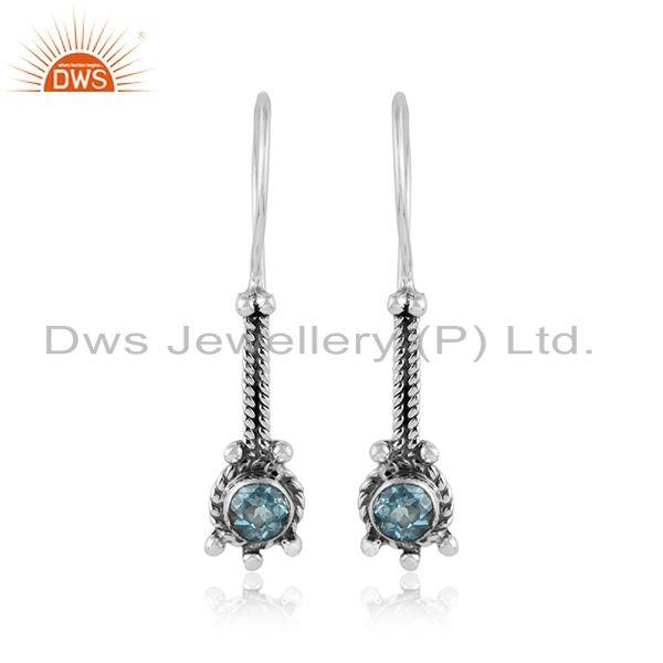 Handmade oxidized 925 silver blue topaz gemstone designer earrings