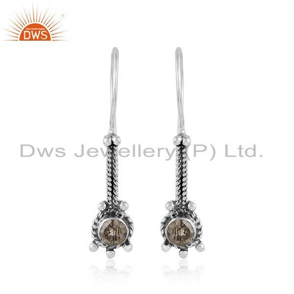 Black rutile gemstone designer 95 silver antique oxidied earrings