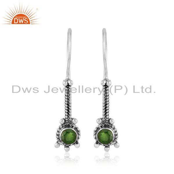 Chrome Diopside Gemstone Handmade Oxidized Silver Designer Earrings
