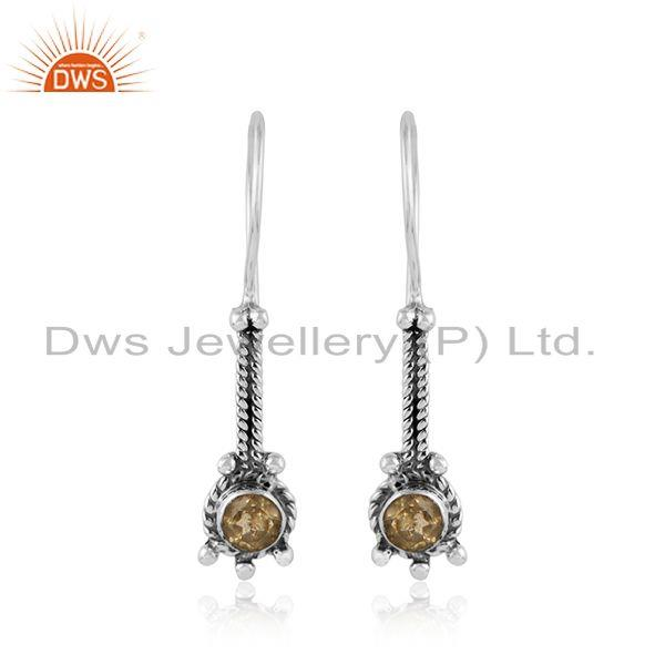 Citrine gemstone 925 streling silver oxidized antique earrings