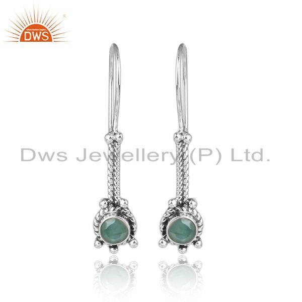 Emerald gemstone handmade 925 silver oxidized womens earrings