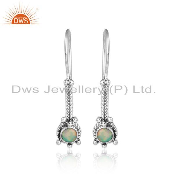 Elongated Designer Earring In Oxidized Silver with Ethiopian Opal
