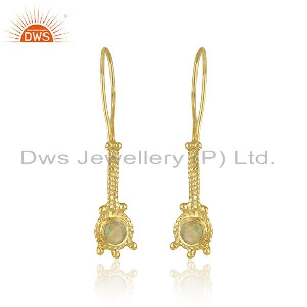 Designer earring in yellow gold on silver 925 with ethiopian opal