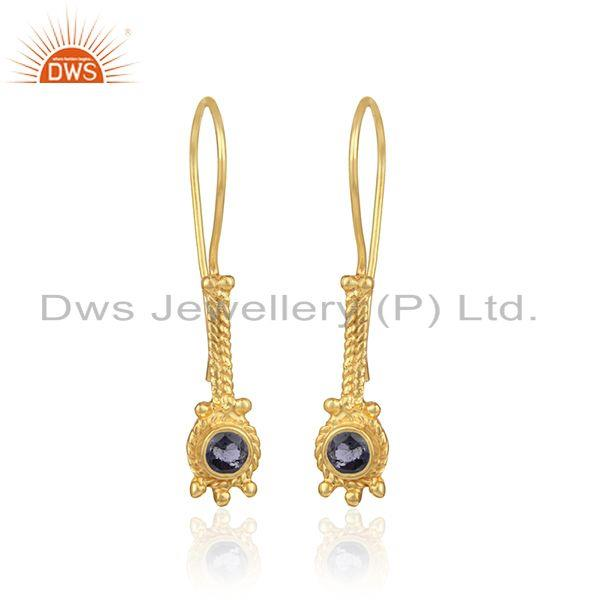 Elongated Designer Earring In Yellow Gold On Silver with Iolite