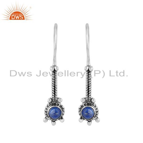 Lapis lazuli gemstone handmade designer womens silver earrings