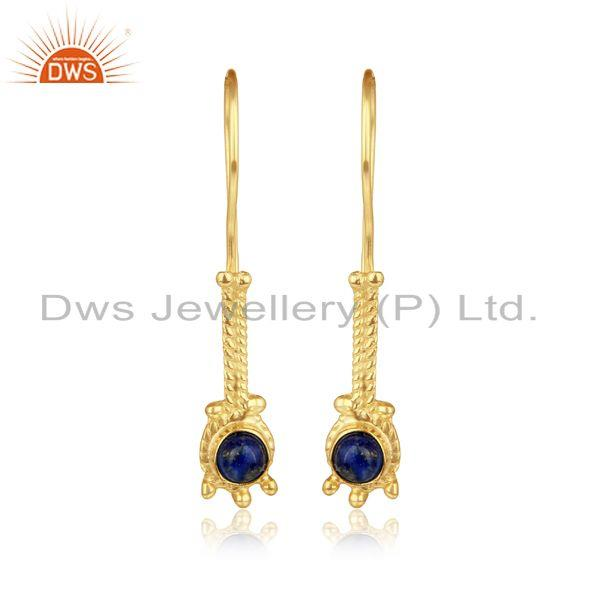 Designer long earring in yellow gold on silver 925 with lapis