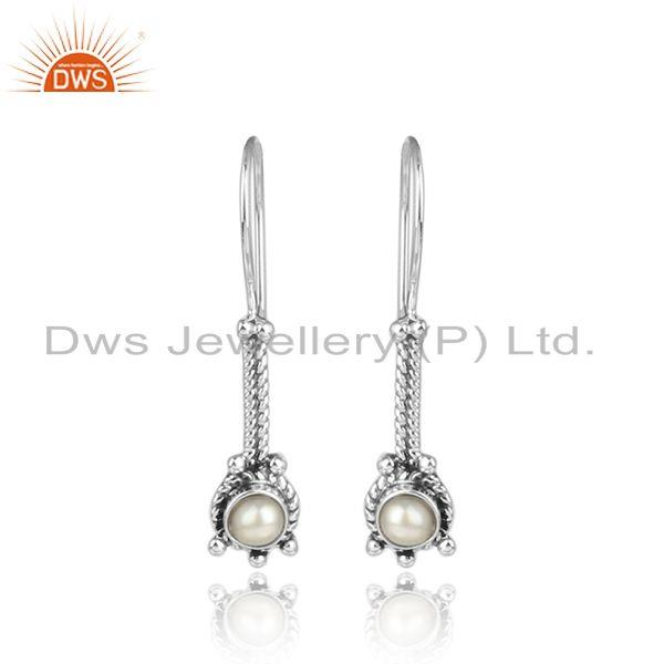Natural Pearl Gemstone Designer 925 Silver Antique Oxidized Earrings