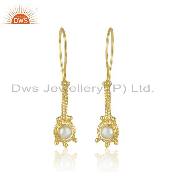 Handmade Designer Earring in Yellow Gold on Silver 925 with Pearl