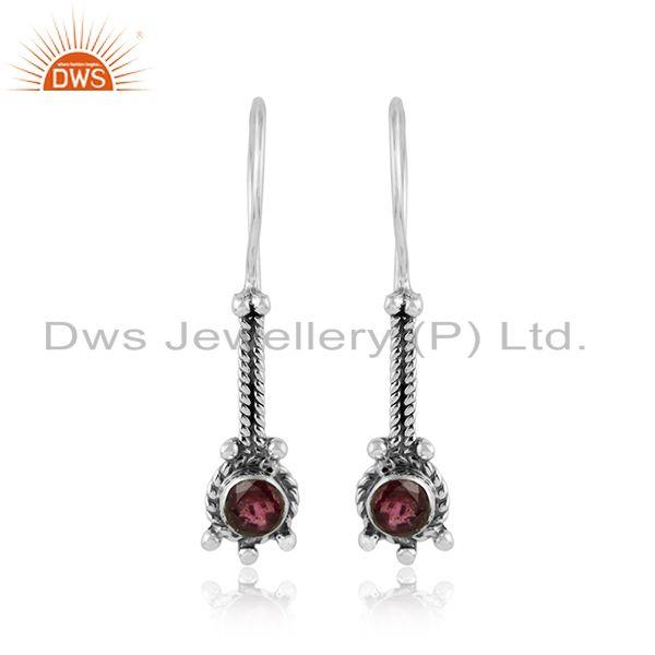 Pink tourmaline gemstone womens designer oxidized silver earrings