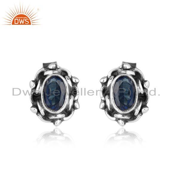 Blue Corundum Gemstone Designer Womens Silver Oxidized Earrings