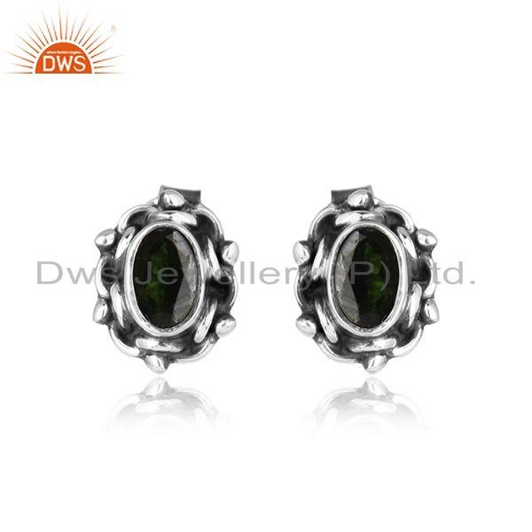 Chrome diopside gemstone oxidized silver designer stud earrings