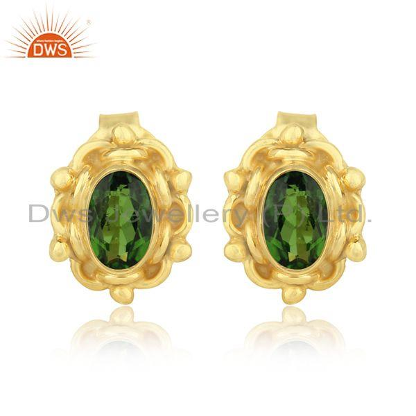 Dainty earring in yellow gold over silver with chrome diopside