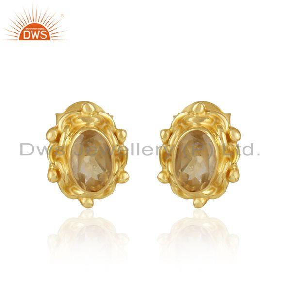 Handcrafted earring in yellow gold on silver 925 with citrine