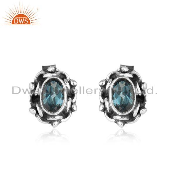 London Blue Topaz Gemstone Designer SIlver Oxidized Stud Earring