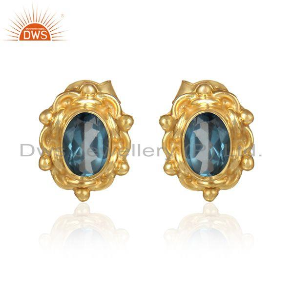 Designer gold over silver london blue topaz gemstone stud earring
