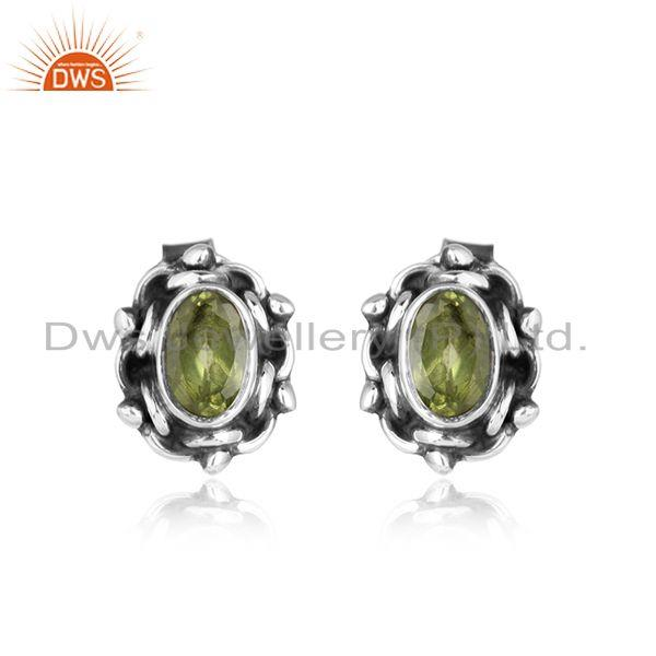 Designer silver oxidized natural peridot gemstone stud earrings