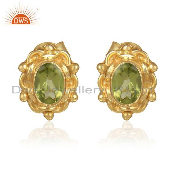 Natural peridot gemstone designer 18k gold silver stud earrings