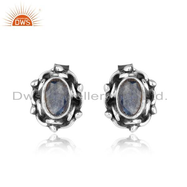 Blue sapphire gemstone oxidized silver womens stud earrings jewelry