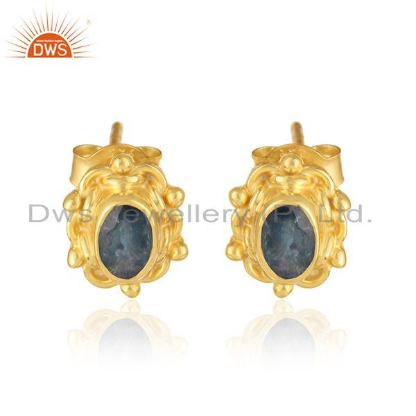Textured Earring in Yellow Gold Over Silver with Blue Sapphire