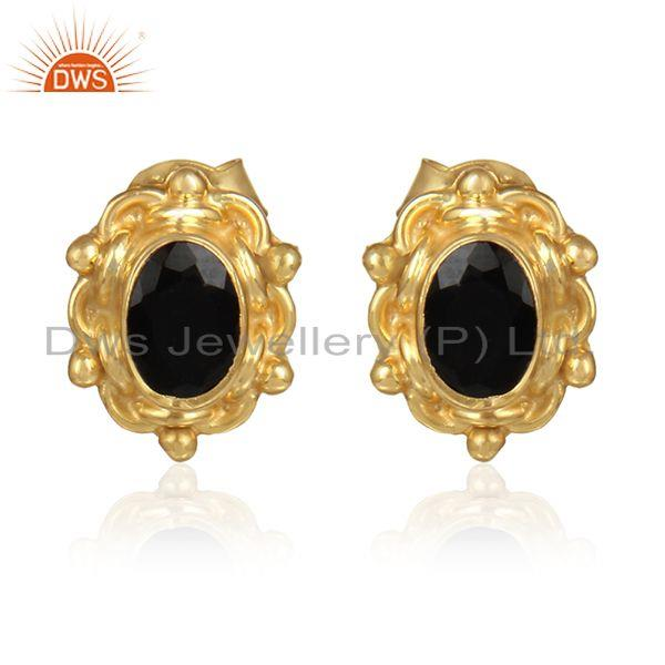 Black onyx gemstone gold plated 925 silver designer stud earrings