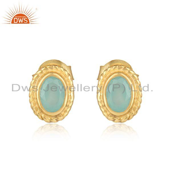 Textured silver stud with aqua chalcedony and yellow gold plating