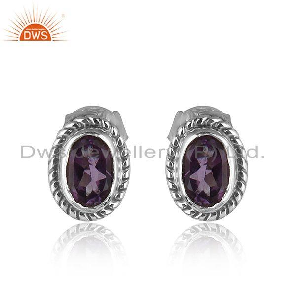 Handmade Oxidized Plated Sterling Silver Amethyst Stud Earrings