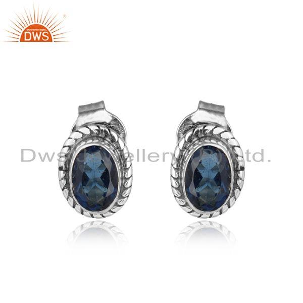 Blue corundum gemstone oxidized sterling silver stud earrings