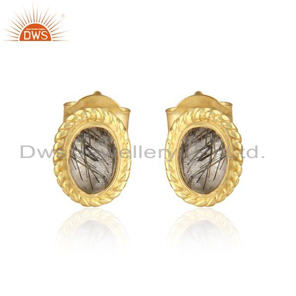 Textured Silver 925 Stud with Blck Rutile and Yellow Gold Plating