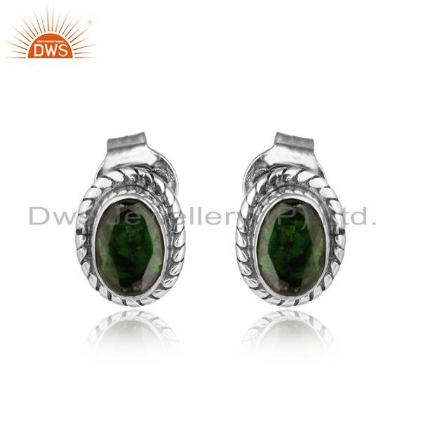 Chrome diopside gemstone oxidized silver womens stud earrings