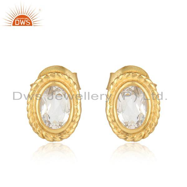 Textured silver stud 925 with crystal and yellow gold plating