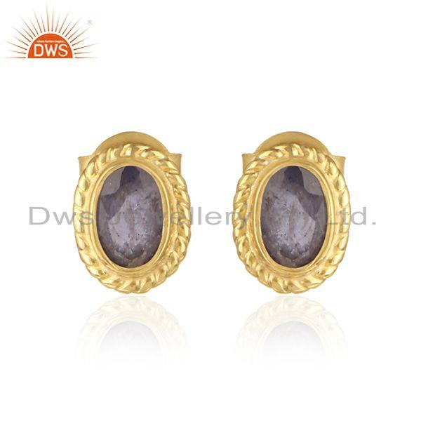 Handmade silver 925 earring with iolite and yellow gold plating