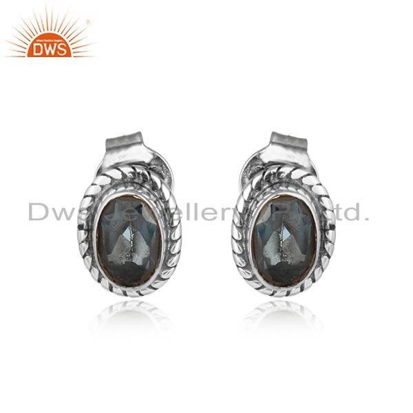 London Blue Topaz Gemstone Womens Oxidized Silver Stud Earrings