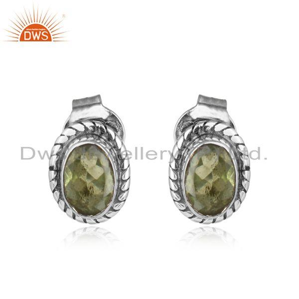 Natural peridot gemstone oxidized 925 silver antique stud earring