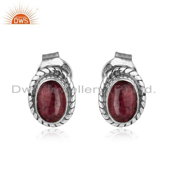 Oval Pink Tourmaline Gemstone Oxidized Silver Womens Stud Earring