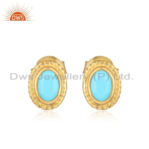 Textured Silver 925 Stud with Turquoise and Yellow Gold Plating