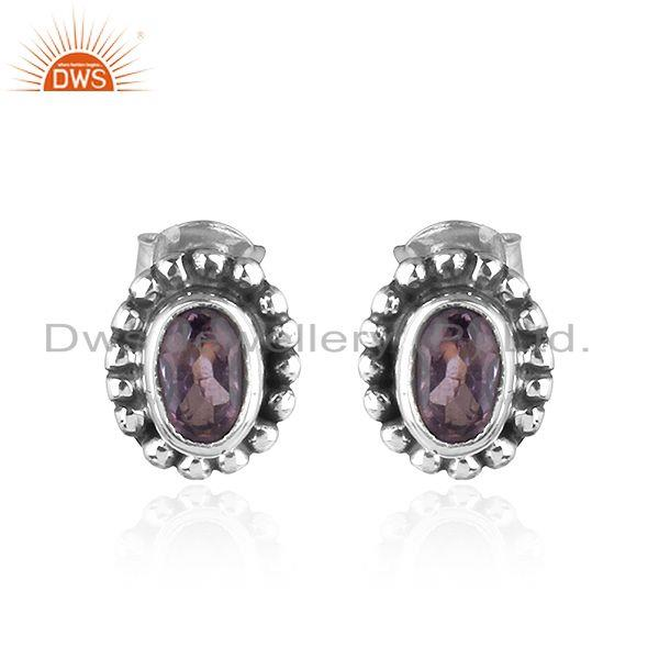 Natural Amethyst Black Oxidized 925 Sterling Silver Stud Earrings
