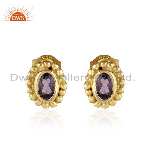 Designer Gold Plated 925 Silver Amethyst Gemstone Tiny Earrings