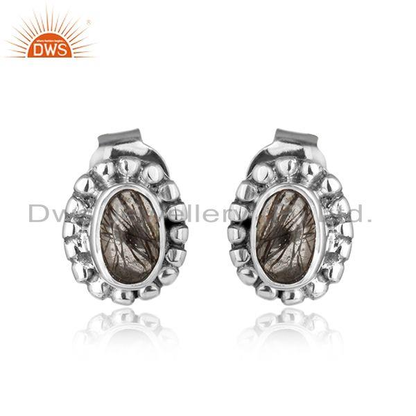 Black rutile gemstone designer oxidized silver antique stud earrings