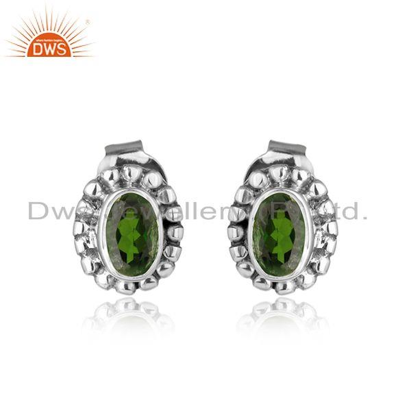 Chrome diopside gemstone handmade 925 silver oxidized stud earrings