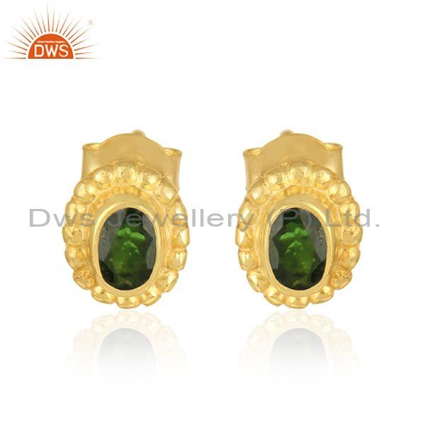 Handmade Stud in Yellow Gold on Silver with Chrome Diopside