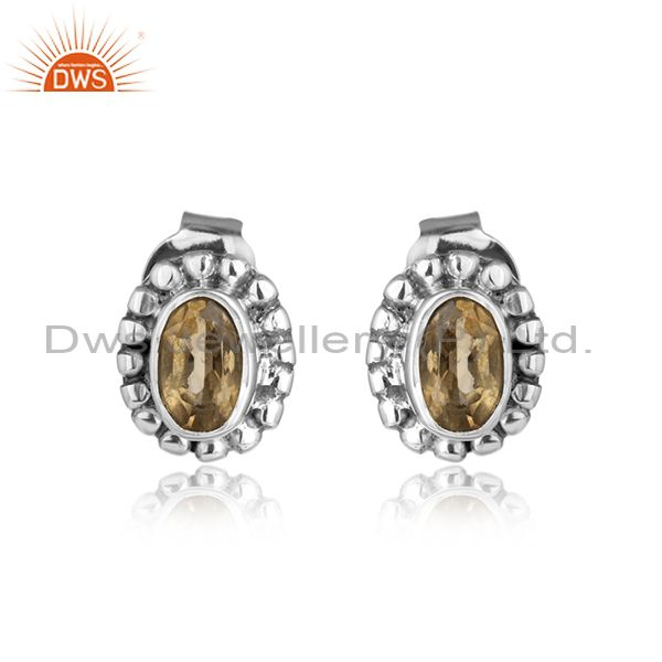 Oxidized 925 silver designer citrine gemstone antique stud earrings