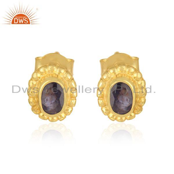 Designer Handmade Stud in Yellow Gold on Silver 925 with Iolite