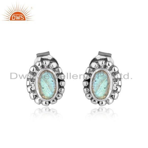 Labradorite gemstone womens oxidized plated 925 silver stud earring