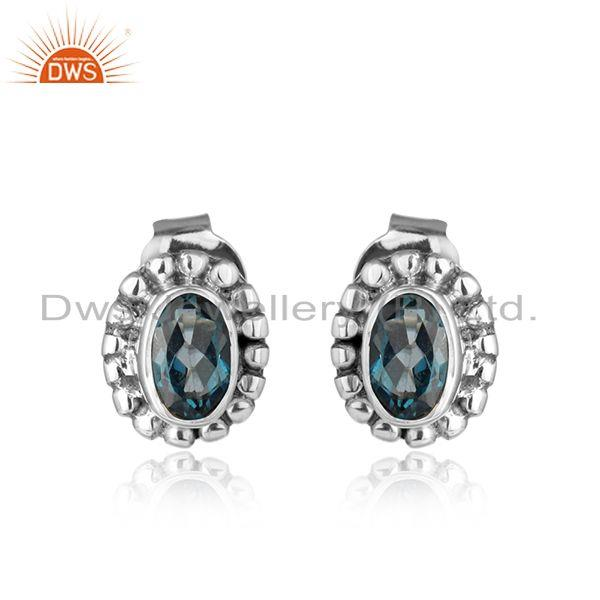 London blue topaz gemstone designer oxidized silver stud earrings